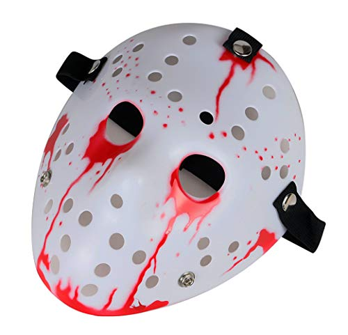 Gmasking Horror Halloween Costume Hockey Mask Party Cosplay Props (Blood) -