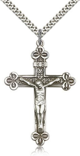 Icecarats Créatrice De Bijoux En Argent Sterling Pendentif Crucifix 1 7/8 X 1 1/4 Pouce