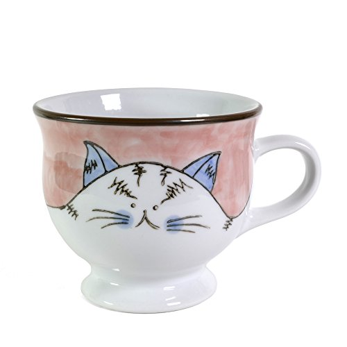 Creative Co-Op Cat Hand-Painted Stoneware Mug, Pink 10 Ounce Footed Mug