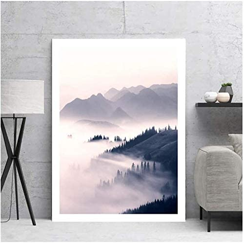 Minimalist Style Canvas Print Mountain Landscape Decorative Painting Nordic Wall Art Poster Home Wall Pictures for javascript:Living Room Print Framed,16x24 inch