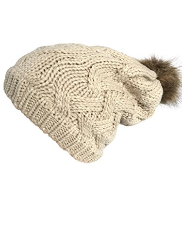 Ny Fashion (NY GOLDEN FASHION Women Chunky Cable Knit Oversized Slouchy Baggy Winter Thick Beanie Hat Pom Pom (Beige))