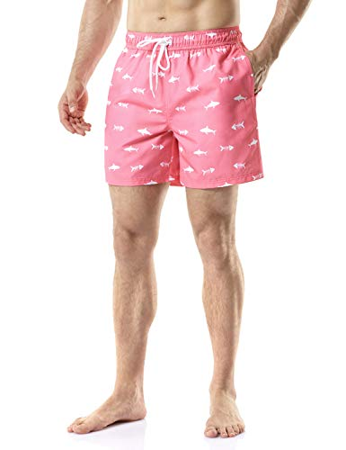 TSLA Men's Swimtrunks Quick Dry Water Beach, Graphic(msb15) - Fish Pink, Small