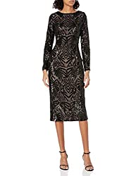 Black_2 Emery Long Sleeve Sequin Midi Dress