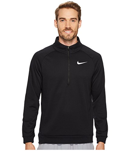 Nike Mens Dry Quarter Zip Fleece Shirt Black/White 860477-010 Size Medium