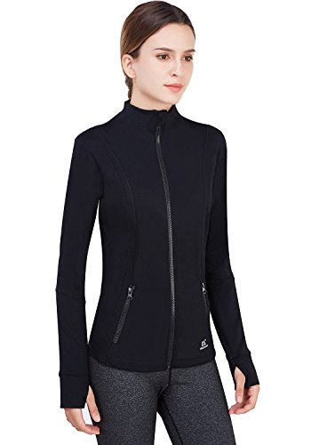 Thermal Running Jacket (Matymats Women's Active Full-Zip Track Jacket Yoga Running Athletic Coat With Thumb Holes,Small,Black)