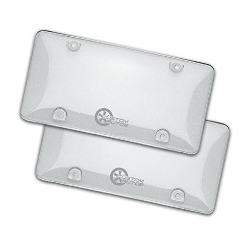 Custom Autos Clear License Plate Shields - 2-Pack Novelty/License Plate Clear Bubble Shields Standard Fit