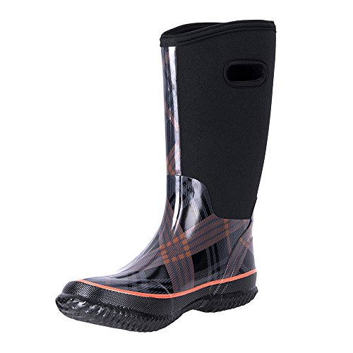WTW Women's Rain Boots Rubber Mid Calf Winnter Protection up to -22 Fahrenheit (Size 10)