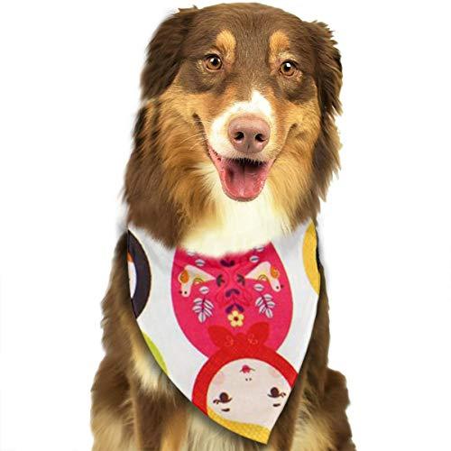 ZZJIAK Dog Bandana Scarf Russian Matryoshka Nesting Dolls Bright Triangle Bibs Printing Kerchief Set Accessories Dogs Cats Pets]()
