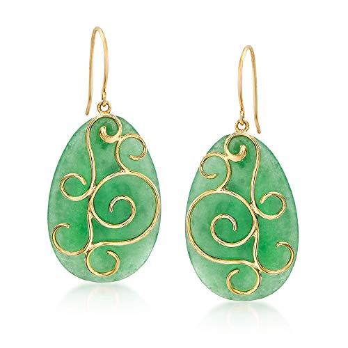 - Ross-Simons Green Jade Pear-Shaped Drop Earrings in 14kt Yellow Gold