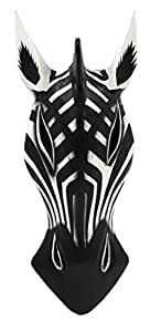 Hand Carved Wooden Animal Mask Wall Decor (Traditional Zebra)