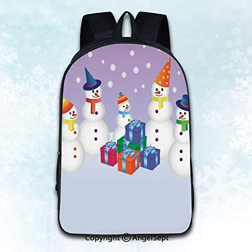 - Women Backpack Oxford Cloth Elegant Shoulder Bag,five snowmen with presents Multicolor 16 inches,Backpacks for Teen Girls