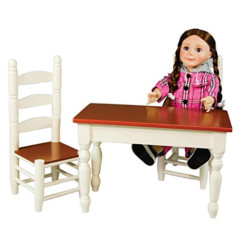 Farmhouse Collection Kitchen Table & Chairs, Fits 18 Inch Girl Doll. This Kitchen Table is the Perfect Addition to any Doll Kitchen and Comes with Two Matching Chairs. Doll Furniture and Accessories. - Farmhouse Kids Table
