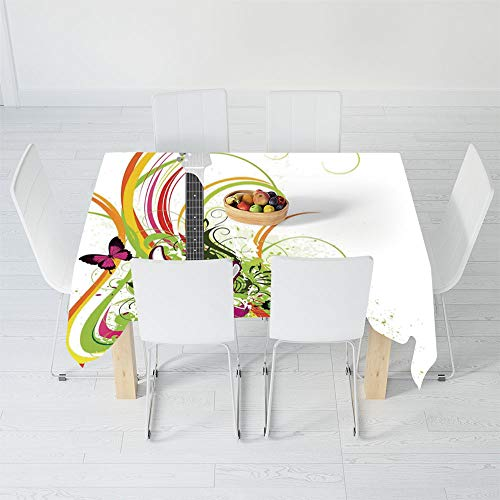 Fashionable Tablecloth,Music Decor,for Secretaire Square Table Office Table,84 X 70.1 Inch,Musical Composition with a Guitar Colorful -