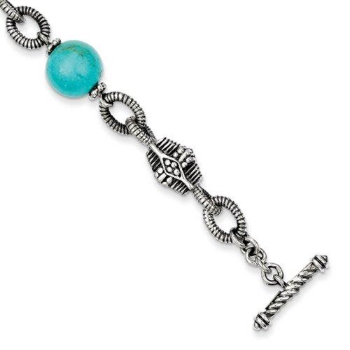 Icecarats Créatrice De Bijoux En Argent Sterling W / 14K Reconstruit Bracelet Turquoise 7.25In En 7,25 Pouces