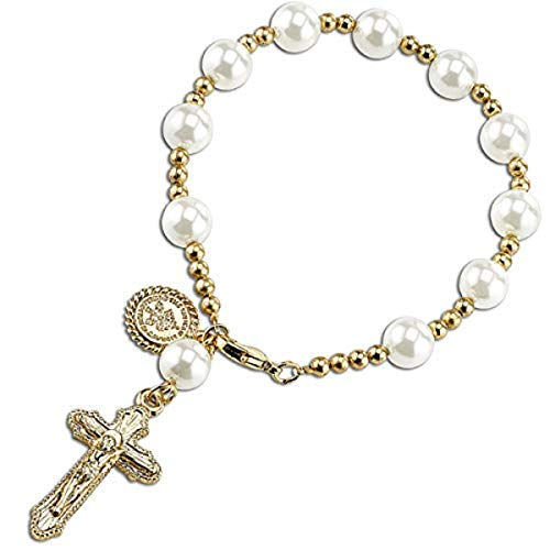 1928 Jewelry 14K Gold-Dipped Simulated Pearl Rosary Bracelet