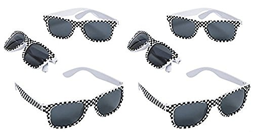 Cars Print - Fun Express Race Car Checkered Flag Print Sunglasses,Black,white - 12 Piece Pack
