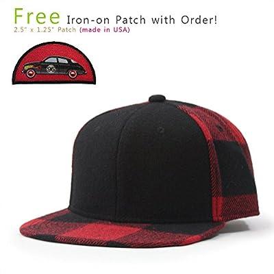 Premium Wool Blend Plaid Adjustable Snapback Baseball Cap