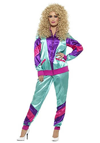 80's Outfits For Halloween (Smiffys Women's 80s Height of Fashion Shell Suit Costume, Female, Green/Purple,)