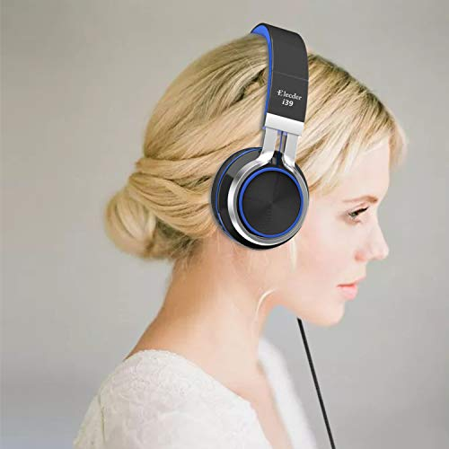 Elecder i39 Headphones with Microphone Kids Children Girls Boys Teens Foldable Adjustable Wired On Ear Headsets Compatible iPad Cellphones Computer MP3/4 Blue/Black by ELECDER (Image #7)