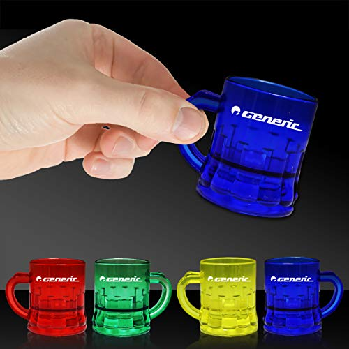 Multi Color 1oz Plastic Mug Shot Glasses - 12 Pack ()