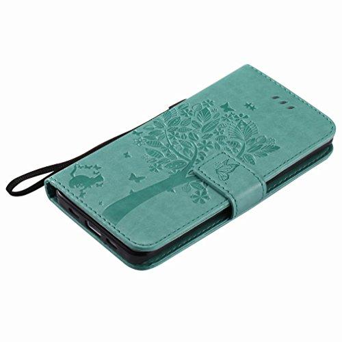 Yiizy Xiaomi Mi 5 Custodia Cover, Albero e Gatti Goffratura Design Sottile Flip Portafoglio PU Pelle Cuoio Copertura Shell Case Slot Schede Cavalletto Stile Libro Bumper Protettivo Borsa (Verde)