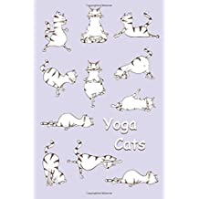 Journal: Yoga Cats (Purple) 6x9 - DOT JOURNAL - Journal with dot grid paper - dotted pages with light grey dots