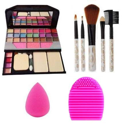 TYA Makeup Brush 5 Pieces, 1 Blender Puff and Brush Cleaner, Makeup Kit