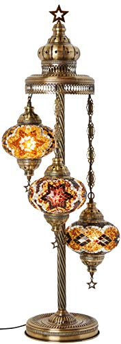 - 19 Colors - 3 Big Globes Turkish Moroccan Mosaic Tiffany Floor Table Lamp for North American Use, 37