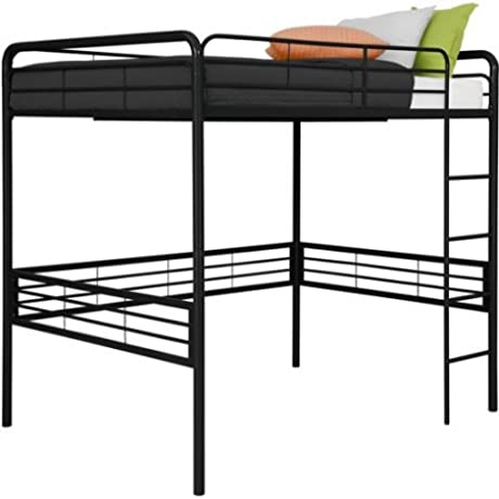 Full Metal Loft Bed Black Finish Children S Bedding With Guard Rail Multifunctional Bedding Home Furniture Children S Bedding Full Size Metal Bed Slats Included Classic Design BONUS E Book