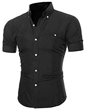 Men's Business Dress Shirt Button O-Neck Short Sleeve Top Regular Fit Lapel Blouse