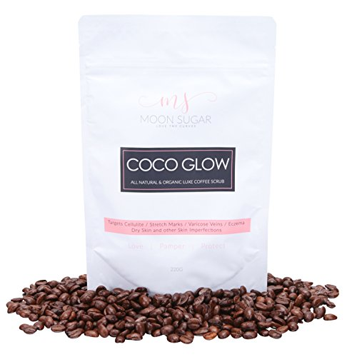 Moon Sugar - Coco Glow Luxe Coffee Scrub - 7.6 oz | 100% All-Natural & Organic with Avocado, Coconut, Olive Oil | Most effective treatment for Cellulite, Stretch Marks, Acne, Dry Skin & Dark Spots