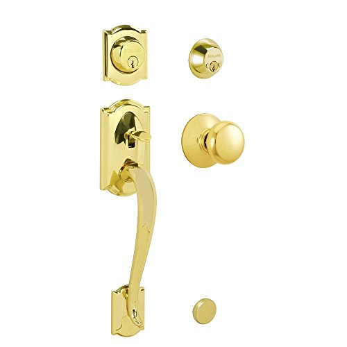 Camelot Handleset with Plymouth Interior Knob in Bright Brass by Schlage Lock Company