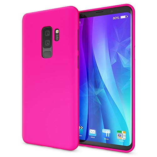 NALIA Case Compatible with Samsung Galaxy S9 Plus, Phone Cover Ultra-Thin Neon Silicone Back Protector Rubber Soft Skin, Protective Shockproof Slim Gel Bumper Smartphone Back-Case, Color:Pink