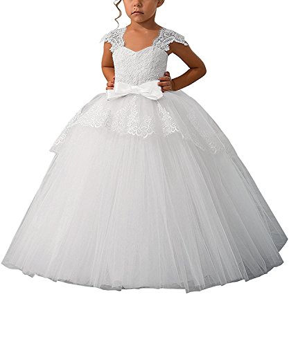 Elegant Lace Appliques Cap Sleeves Tulle Flower Girl Dress White Color with White Sash Size 2