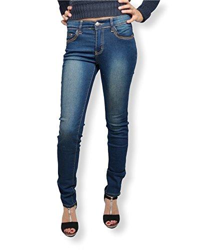 Jean de couleur JEAN fit blue taille femme Bleu slim femme taille haute BS used Jean 36 pqwFP55