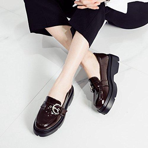 Dames Klassiek Platform Loafers Gesp Ronde Neus Instapperjurk Penny Loafer Casual Oxford Schoenen Donkerbruin