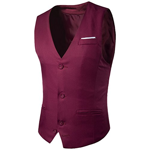 Suit Men's Zhhlaixing Formal Red Slim Jacket Fit Respirable Business Vest Wine Casual Sleeveless Txwx8q