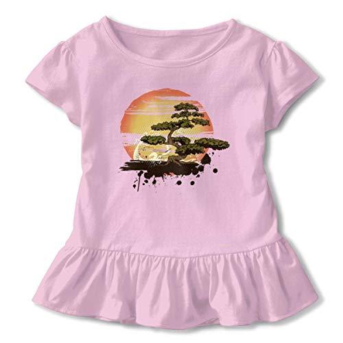 sport outdoor 003 Bonsai Tree Karate Dojo Ruffled T-Shirt Short Sleeve Girls' Birthday Gift 2-6T Pink ()