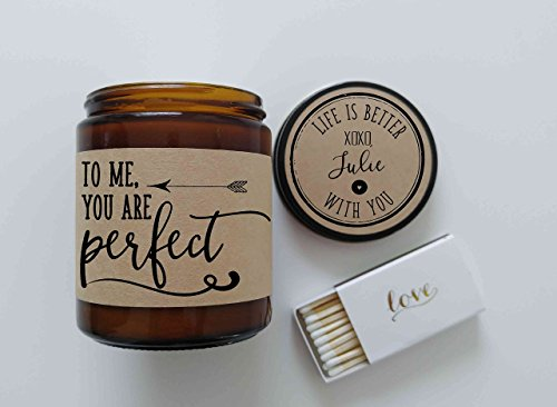 To Me You Are Perfect Valentines Day Gift for Her Girlfriend Gift Personalized Candle Love Actua ...