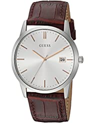 GUESS Mens Stainless Steel Leather Casual Watch, Color Silver-Tone/Brown (Model: U0998G2)