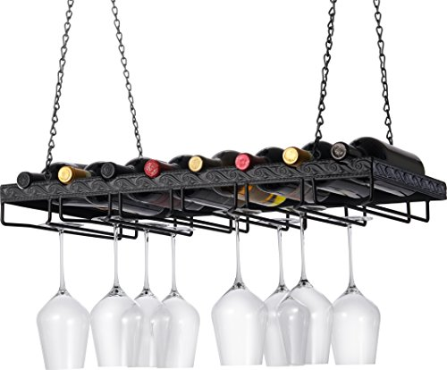 Wine Enthusiast Metal Hanging Wine Glass Rack (Wine Top Glass Metal Rack)