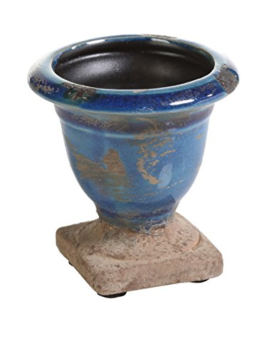Zodax Bagatelle Terracotta Candle Urn Blue Small (Pictured on Right)