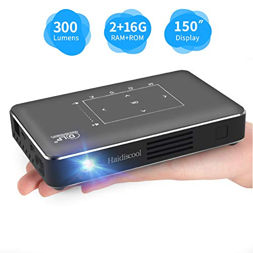 Portable Mini Projector, Haidiscool Pocket Video DLP Android 2+16G Pico Projector 300 ANSI Lumen with BT4.0/USB/HD-in/TF, Support WiFi Wireless Screen Share 1080P Movie, for Outdoor/Home (Best Pocket Projector For Android)
