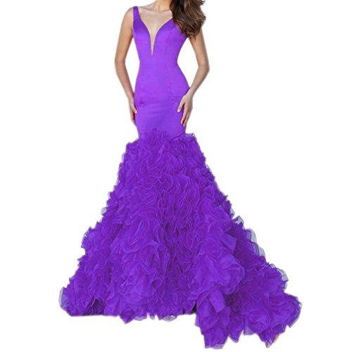 Fanciest Women's Ruffles Abendkleider Meerjungfrau Neck Formelle Evening Purple Kleid 2016 V Ballkleid BfqBprw