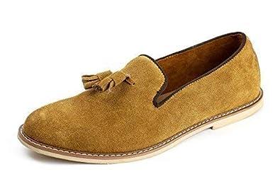 Zapatos De Piel Sin Cordones para Hombre Elegante Borla Ante Moderno Mocasines Informales Talla UK -