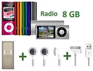 gNg Reproductor de MP3 8 GB con reproductor de video MP4 (5ª gen) con radio FM incorporada, cable USB GRATIS, funda de goma y auriculares en colores aleatores