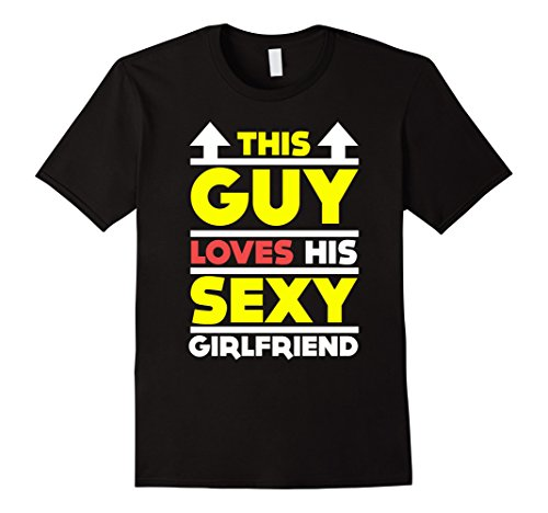 Men's Funny This Guy Loves His Sexy Girlfriend T-shirt Gift XL Black (Cupid Men Costume)