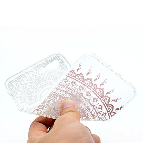 iPhone 8 Plus Custodia , Leiai Moda Fiore rosa Clear Soft Silicone Morbido TPU Cover Case Custodia per Apple iPhone 8 Plus