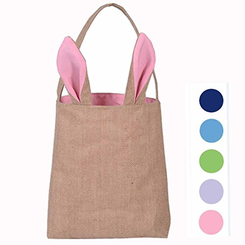 Easter Bunny Gift (Hantajanss Easter Gift Bag Dual Layer Bunny Ears Design Jute Cloth Bag for Party (Pink))