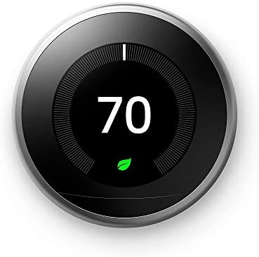 Google T3007ES Nest Learning Thermostat third Generation, Stainless Steel, Works with Amazon Alexa, 1
